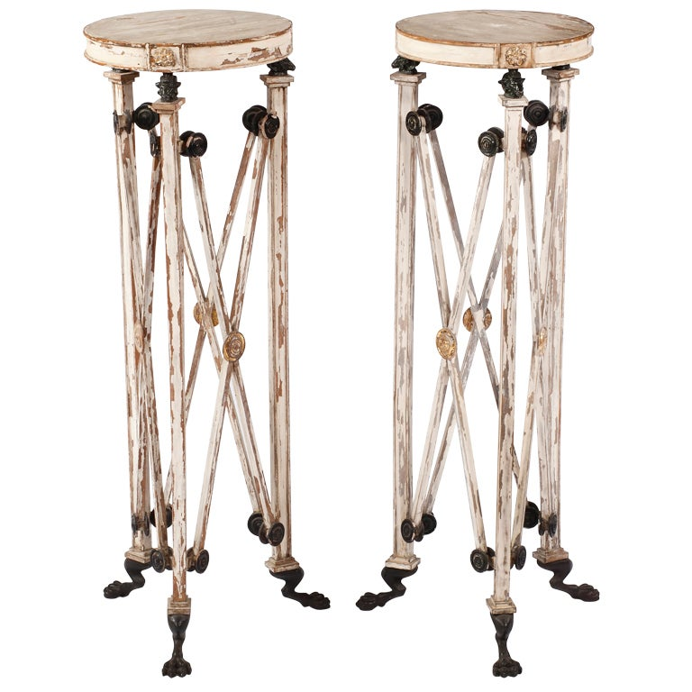 An Unsual Pair of Painted & Partial Gilt Bronze Mounted Pedestals For Sale