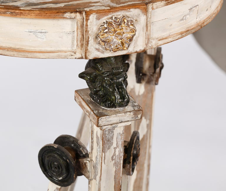 Italian An Unsual Pair of Painted & Partial Gilt Bronze Mounted Pedestals For Sale