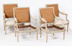 A Set of Four Louis XVI Painted Fauteuils Att. to Jean-Baptiste Claude Sene