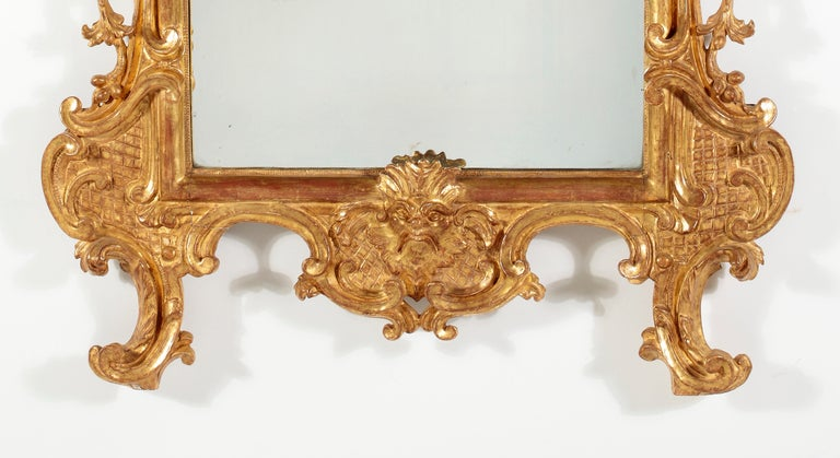18th Century and Earlier A Fine RococoI Giltwood Mirror, Italy For Sale