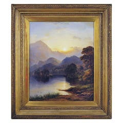 Loch Achray and Ben Venue Sunset Painting by George Blackie Sticks