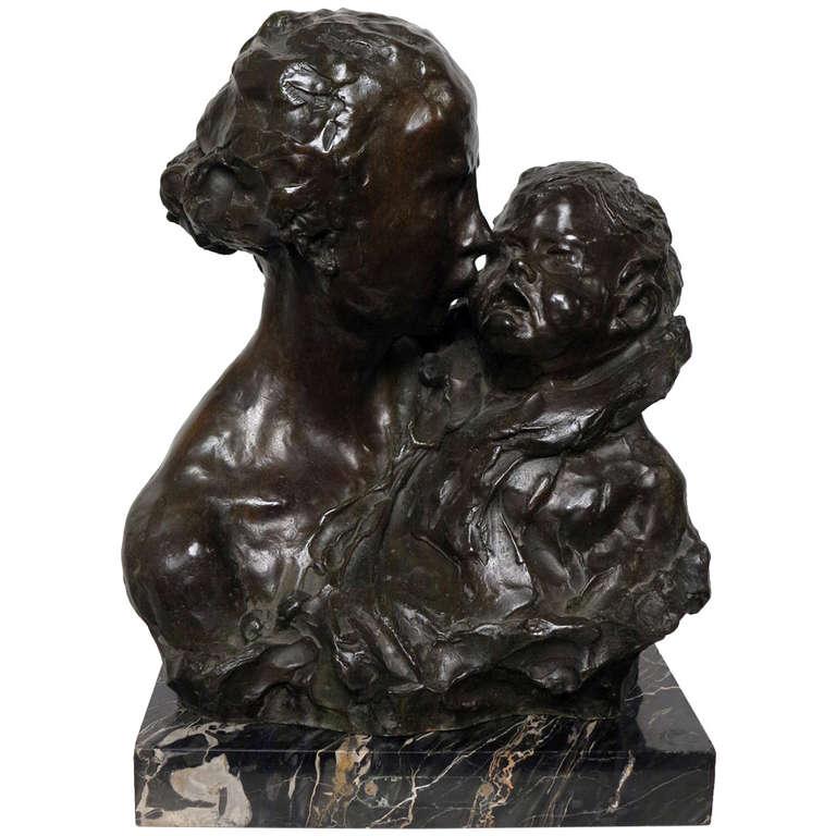 "Bronze Sculpture, ""Maternite"" by Alfredo Pina"