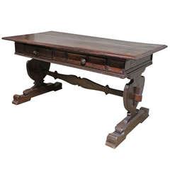 An Italian Walnut Baroque Writing/Center Table, 17th Century & later