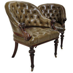 Exceptional and Rare Pair of Mahogany Armchairs, circa 1835