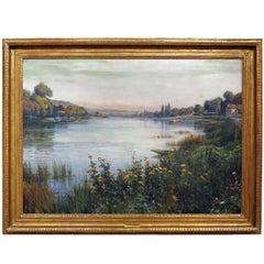 """extensive landscape view  of """" La Seine Près de Paris """"  by Louis Aston Knight"""