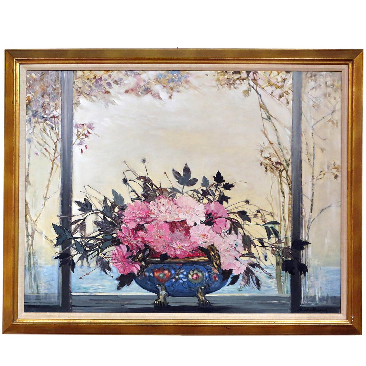 Bowl de fleurs la fen tre painting by michel henry at for Fenetre french