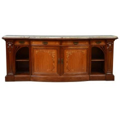 Art Nouveau Walnut, Satinwood & Fruitwood Marquetry Sideboard by Stamped Krieger