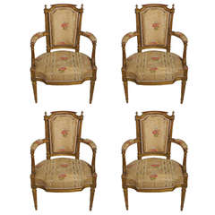 Fine Set of Four Louis XVI Giltwood Fauteuils by Georges Jacob Maitre, 1765