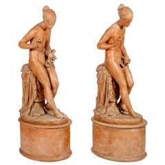 Two Allegorical Figures by Ezio Ceccarelli, Italian, 1865-1929