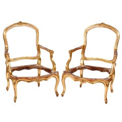 A Fine Pair of Louis XV Giltwood Fauteuils By Louis Delanois, 18th Century