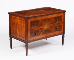 A Fine & Rare Italian Neoclassic Burr Walnut and Inlaid Commode