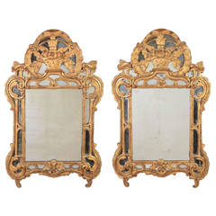 Fine and Rare Pair of Regence Giltwood Mirrors, 18th Century