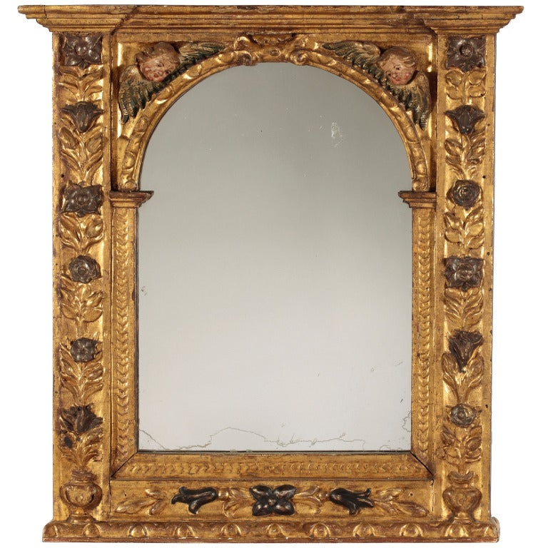 A Baroque Giltwood & Polychrome Frame / Mirror, Late 17th Century