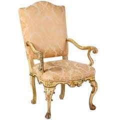 A Fine Venetian Rococo Polychrome Open Armchair, 18th Century