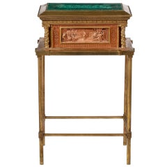 A Renaissance Revival ,Copper & Brass Mounted with Malachite Top,Jewelry Box