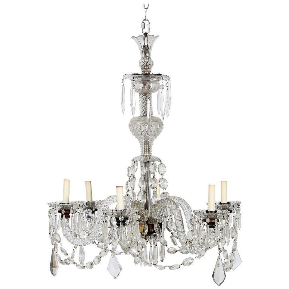 A Fine Georgian Crystal & Brass Six Light Chandelier, 19th Century