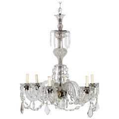 A Fine Georgian Crystal & Brass Six Light Chandelier, 19th Century