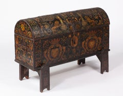Early English Dome Trunk with painted leather & brass mounted, on stand 18thC