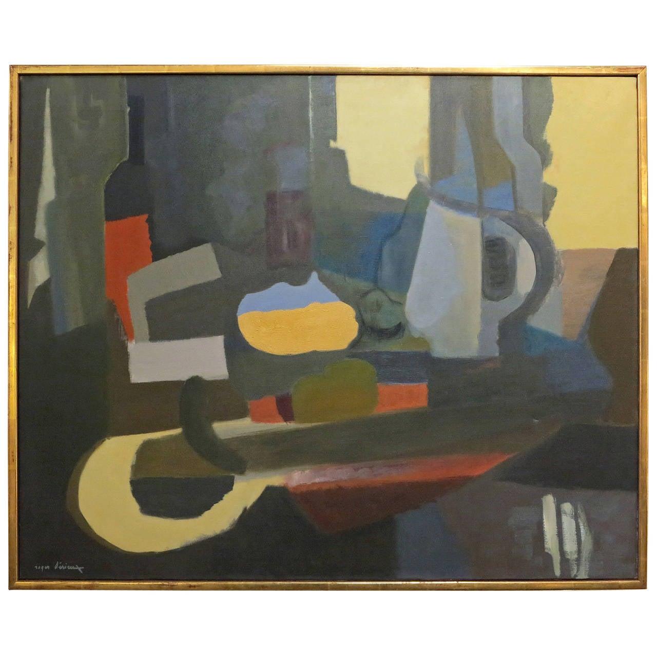 """""""La Bouteille de Vin"""" Oil on Canvas by Roger Derieux For Sale"""