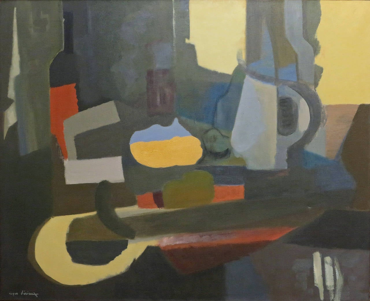 Roger Derieux French, B.1922- La Bouteille de Vin  Oil on canvas 32 by 39 in. W/frame 33 by 40 in. Signed lower right  Biography: Roger was born in Paris in 1922, after having lived and worked in Paris and the Ardèche, Roger DERIEUX up his studio in