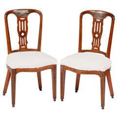 A Pair of Late George III Painted Satinwood Side Chairs, early19th Century