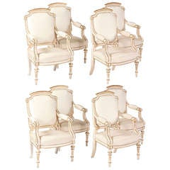 A Set of Eight Italian  Painted & Parcel Gilt Fauteuils, Early 19th Century
