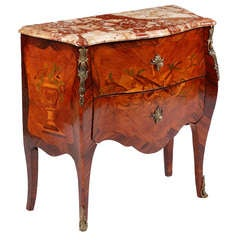 A Fine Louis XV Kingwood & Tulipwood Marquetry Commode by Leonard Boudin