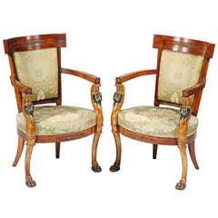 A Rare Pair of Italian Polychrome & gilt Pearwood Armchairs.