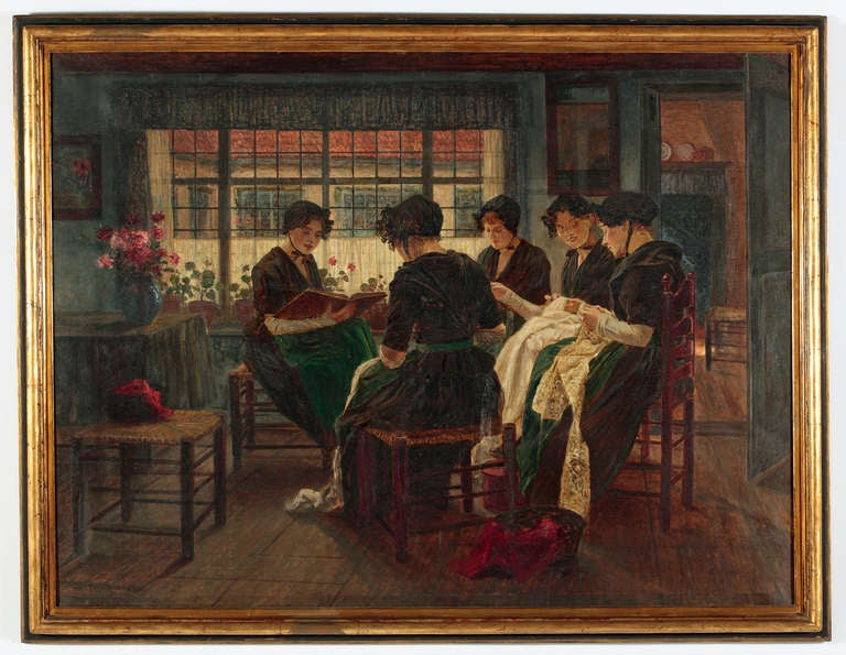 """Walter Firle German, 1859-1929  """"La Lecture""""  Oil on canvas 40 ½ by 53 ½ in.  W/frame 44 ½ by 57 ½ in.  Studied: With A.Dressler in Breslau, then at the Munich Academy with Gabriel Max and Ludwig Lofftz  He mainly worked in Munich, Holland and"""