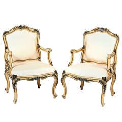 A Fine Pair of Italian Painted and Lacquered Armchairs, 18th Century
