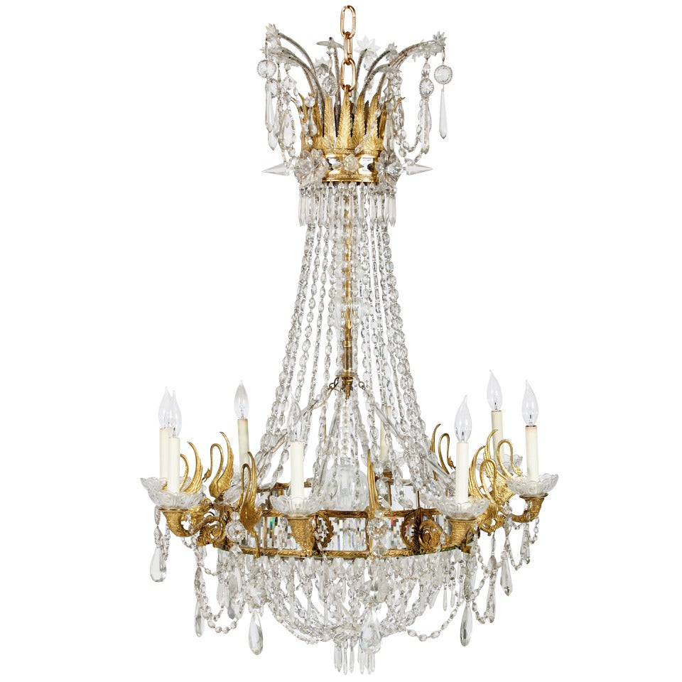 An Important 19th Century Neoclassic Gilt Bronze & Crystal Chandelier