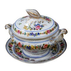 A Fine French Covered Soup Tureen with Under Plate