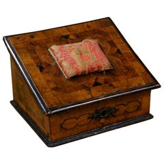 A Walnut Parquetry Sewing Box