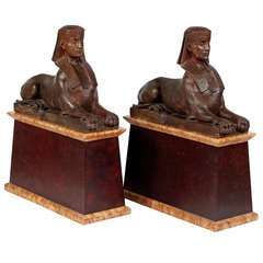 An Important Pair of Terracotta Sphinxes by Enrico Vella