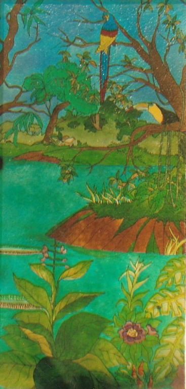 Depicting Jungle scenes with Parrots  Height 90 in. by 44 in.   Provenance: Private estate San Paulo, Brazil