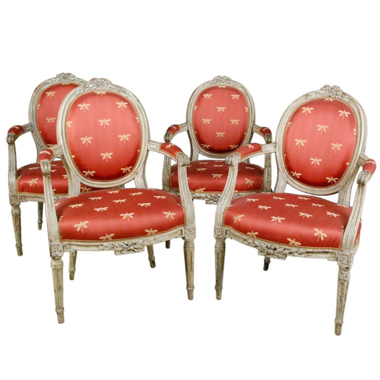 Set of Four Louis XVI Painted Fauteuils a la Reine at 1stdibs