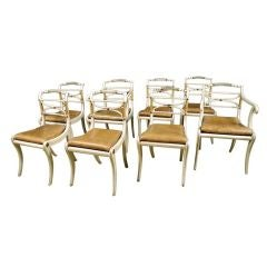 Fine Set of Eight Regency Lacquered & Parcelgilt Dining Chairs