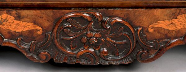 A Fine Dutch Marquetry Inlaid Bombe Desk, 18th Century For Sale 1