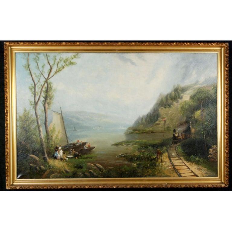"""Pastoral Landscape w/Locomotive & Picnic Goers"" by G.Brown"