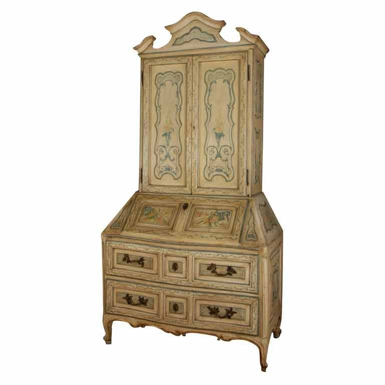 A Fine Painted Venetian Secretaire With Bronze Mounts At