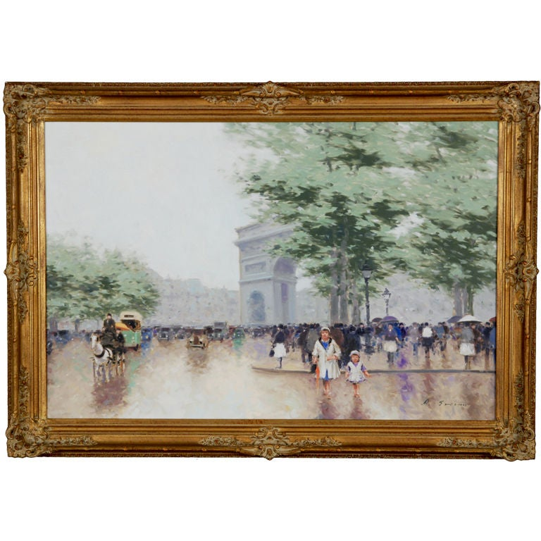 """Paris Street Scene"" Painting by Andre Gisson For Sale"