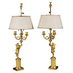 A Pair of Neoclassical Bronze Dore Candelabra Att. to Thomire