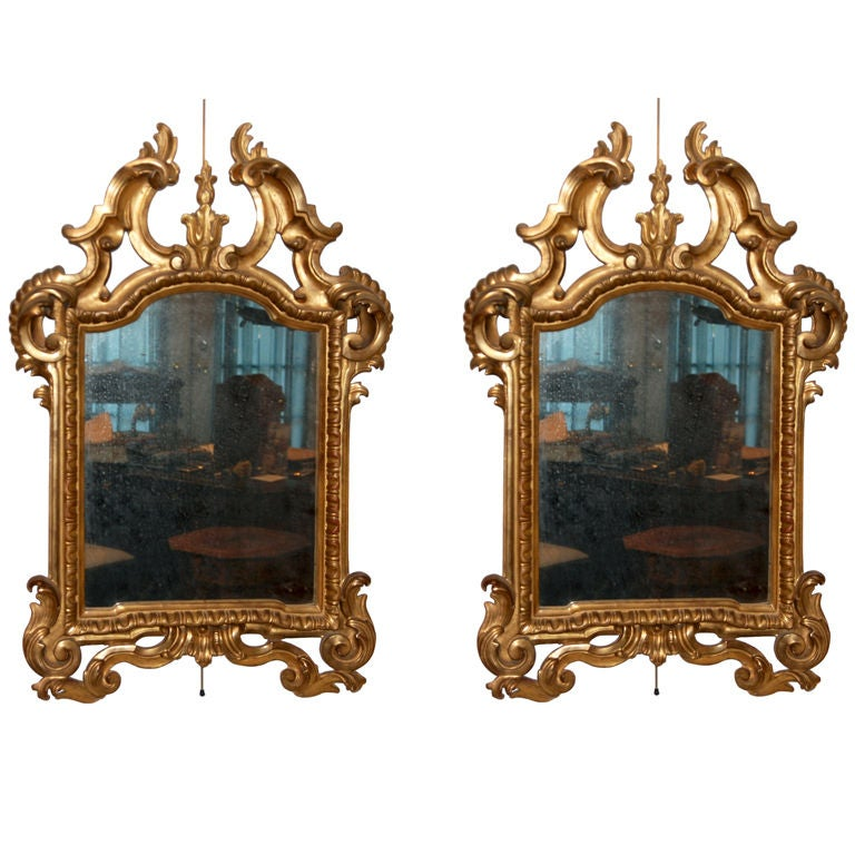 A Fine Pair of Italian Genovese Giltwood Mirrors For Sale