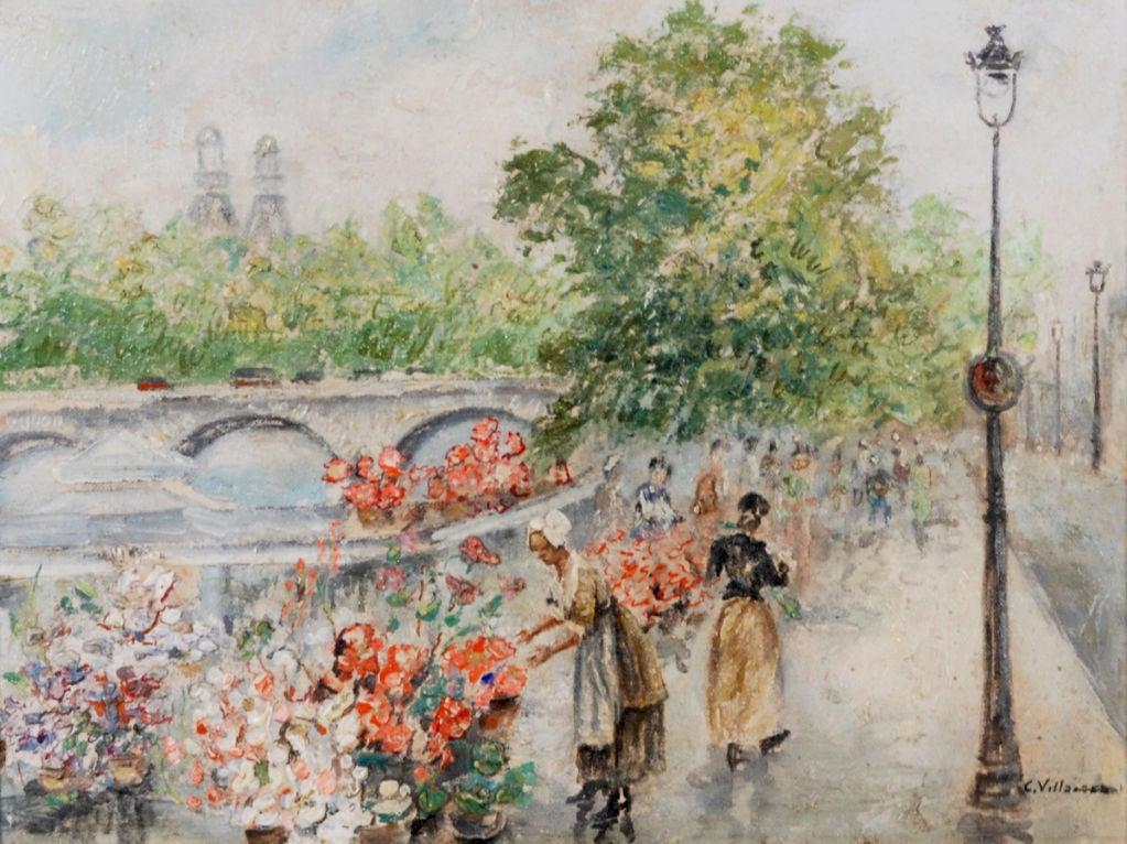 "Cesar Villacres    Ecuador, 1880 –1941      ""Flower Seller""       Oil on board   12 by 16 in. W/frame 17 by 21 in.             Cesar Villacres was an Ecuadorean artist that worked in South America & Paris."
