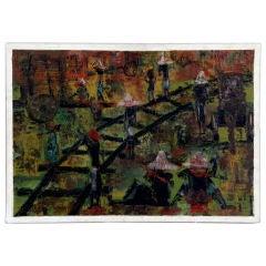 """Haitian Scene in Railyard"" by Harry (Arijac) Jacques"