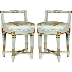 A Fine & Rare Pair of Stools by Jean Baptiste Lelarge III, 18th Century