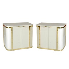 A Pair White Lacquered & Brass Cabinets by John Stuart
