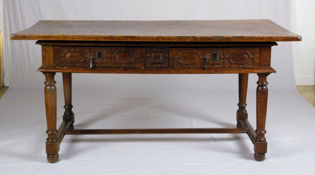 A rare french louis xiii walnut and chestnut table 17th for 17th century french cuisine