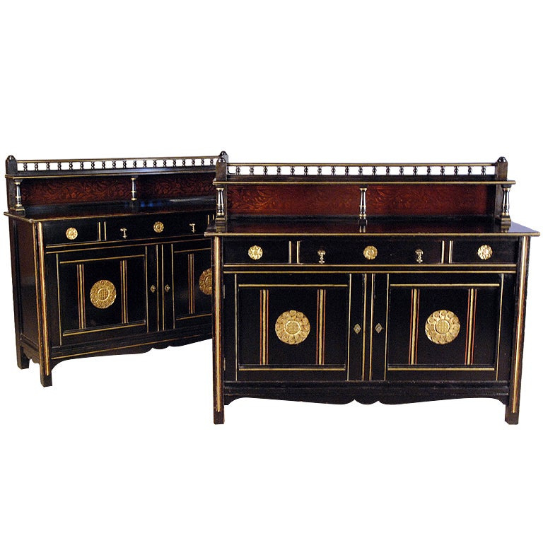 A Pair Of Aesthetic Movement Ebonised Wood Cabinets By