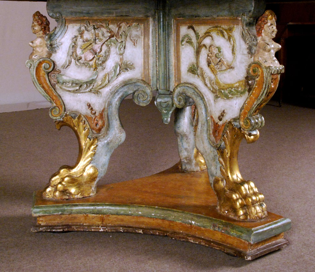 Italian A Polychrome and Parcel Gilt Baroque Center Table For Sale